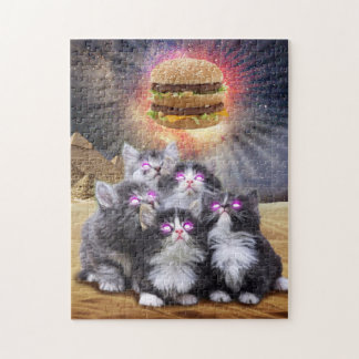 space cats looking for the burger jigsaw puzzle