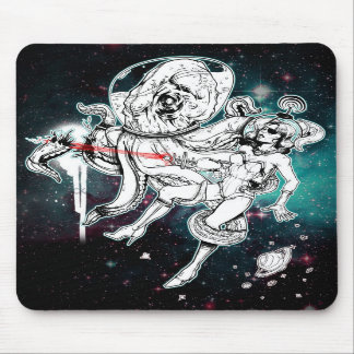 Space Chick and Octopus mousepad
