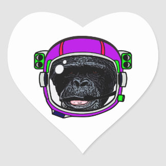 Space Chimp Heart Sticker