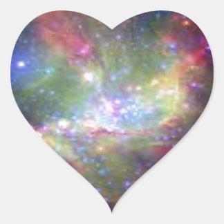 space color heart sticker