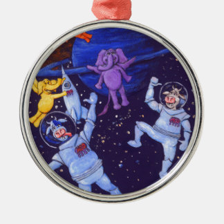 Space Cows and Space Elephants Silver-Colored Round Decoration