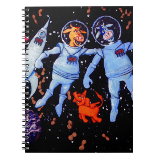 Space Cows Feed peanuts to Space Elephants Notebooks