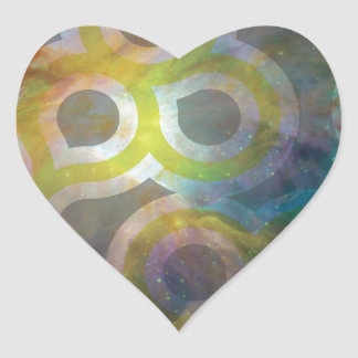 Space Design Heart Sticker
