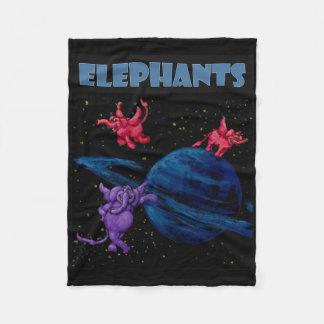 Space Elephants on Saturn Fleece Blanket