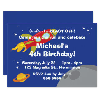 Space Explorer 13 Cm X 18 Cm Invitation Card