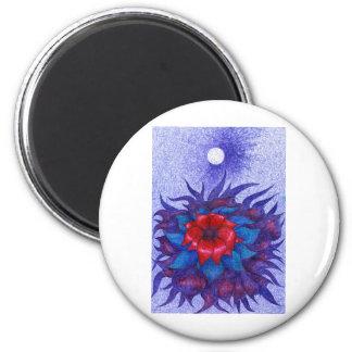 Space Flower 6 Cm Round Magnet
