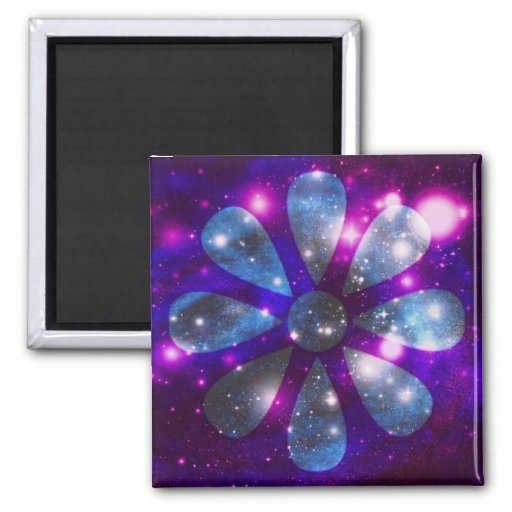 Space flower square magnet