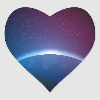 Space Galaxy Earth Illustration Heart Sticker
