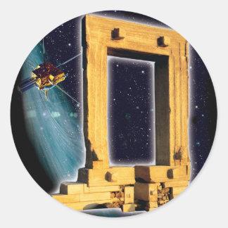 Space Gate of Apollo Round Stickers