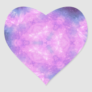 Space Gems Kaleidoscopic Pattern Heart Sticker