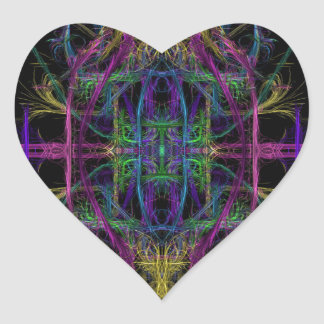 Space geometric drawing heart sticker