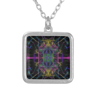 Space geometric drawing silver plated necklace