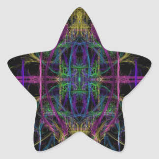 Space geometric drawing star sticker