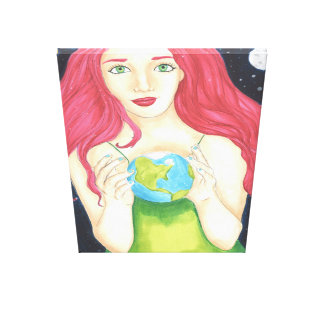 """Space Girl Wrapped Canvas (32"""" x 48"""") Canvas Prints"""