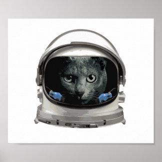 Space Helmet Astronaut Cat Poster