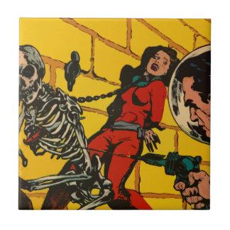 Space Horror - Vintage Science Fiction Comic Art Tile
