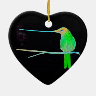 Space Humming Bird Ceramic Heart Decoration