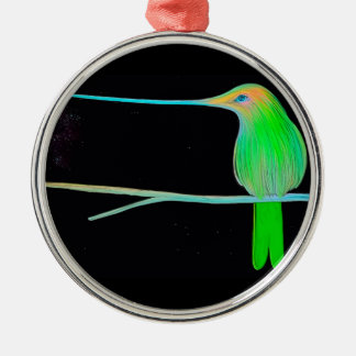 Space Humming Bird Silver-Colored Round Decoration