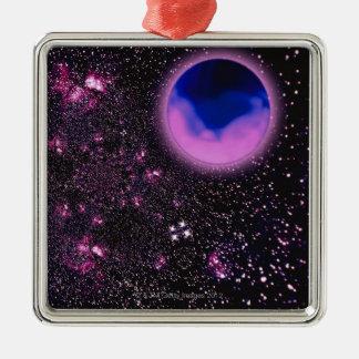 Space Image 3 Silver-Colored Square Decoration