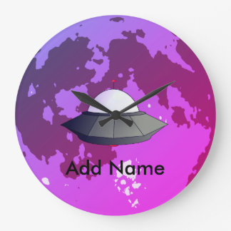 Space Invasion Custom Name Space Clock