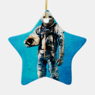 space is calling blue ceramic star decoration
