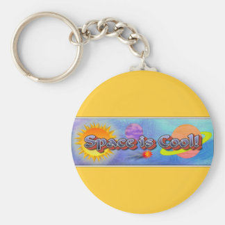 Space is Cool! Basic Round Button Key Ring