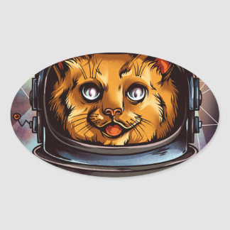 Space Kitty will boldly go..... Oval Sticker
