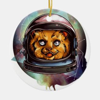 Space Kitty will boldly go..... Round Ceramic Decoration
