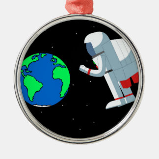Space Man Silver-Colored Round Decoration