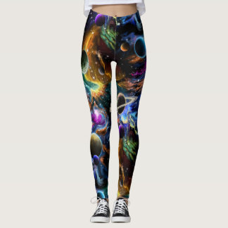 Space Nebula and Planets Leggings