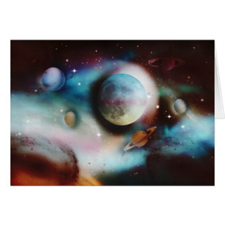 Space Nebula and stars greeting cards