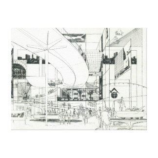 Space Needle Aerial Concept Drawing 2 Canvas Print