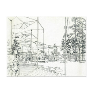 Space Needle Aerial Concept Drawing Canvas Print