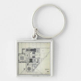 Space Needle Aerial Concept Drawing Silver-Colored Square Key Ring