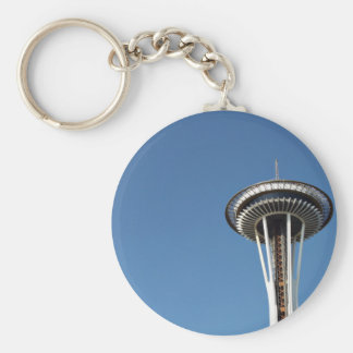 Space needle in blue sky basic round button key ring