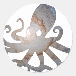 Space octopus round sticker