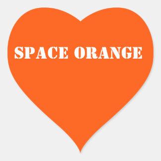 Space orange heart stickers