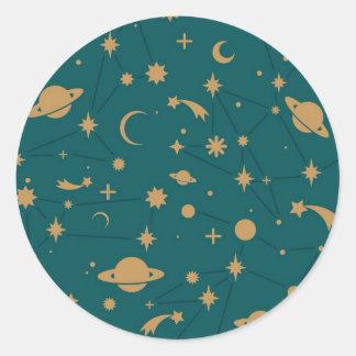 Space pattern round sticker
