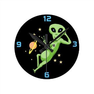 Space Peace Alien Clock