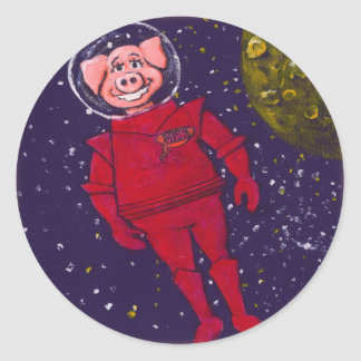 Space Pig Round Sticker