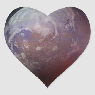 Space Planet Heart Sticker