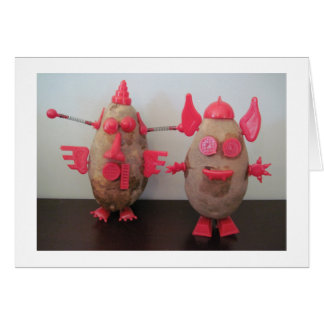 Space Potato Couple Blank Greeting Card