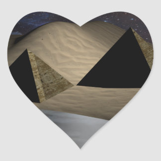 Space Pyramids Heart Sticker