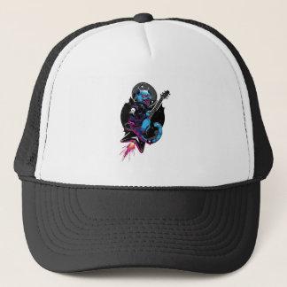Space rock cat trucker hat