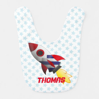 Space rocket bib with star background