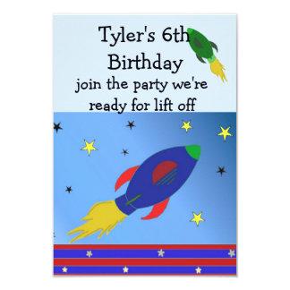 Space Rocket Birthday Invitation