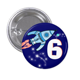 Space rocket blue boys age button