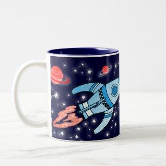 Space rocket blue red kids name mug