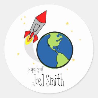 space rocket BOOKPLATE book label Round Stickers