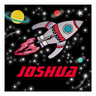 Space rocket personalized boys black red poster